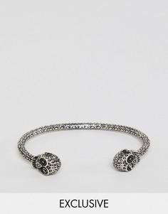 Серебристый браслет с черепом Reclaimed Vintage Inspired эксклюзивно для ASOS - Серебряный