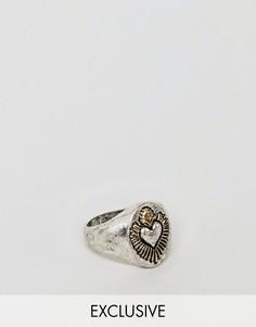 Серебристое кольцо печатка Reclaimed Vintage Inspired эксклюзивно для ASOS - Серебряный