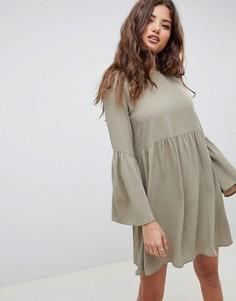 Свободное платье мини с рукавами клеш ASOS DESIGN - Зеленый
