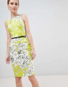 Платье-футляр с поясом Closet London - Зеленый