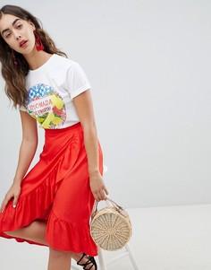 Юбка миди с запахом и оборкой New Look - Красный