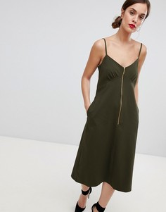 Платье-миди на молнии и бретельках Closet London - Зеленый