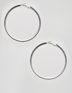 Крупные серебристые серьги-кольца с фактурной отделкой Missguided - Серебряный