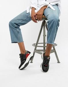 Черные кроссовки с леопардовыми вставками Steve Madden Zela - Черный