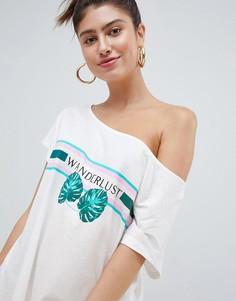 Свободная трикотажная пляжная футболка с принтом Wanderlust ASOS DESIGN - Мульти