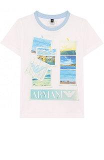 Хлопковая футболка с принтом Armani Junior