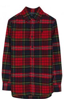 Удлиненная рубашка из хлопка с принтом Polo Ralph Lauren