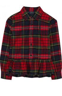 Хлопковая рубашка с принтом и оборкой Polo Ralph Lauren