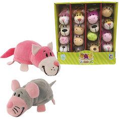 Мягкая игрушка-вывернушка 1toy Розовый кот - Мышка, 12 см