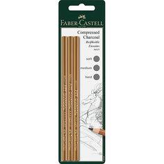 Прессованный уголь-карандаш Fabler-Castell «Pitt Monochrome», 3 шт