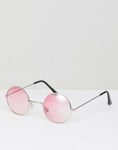 Круглые солнцезащитные очки с красными линзами 7x - Черный