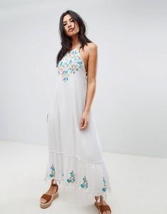 Платье макси с вышивкой Raga - Белый
