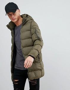 Дутая куртка цвета хаки с капюшоном Pull&Bear - Зеленый Pull&Bear