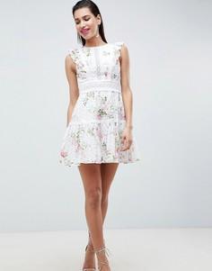 Платье мини с вышивкой ришелье и принтом Forever New - Мульти