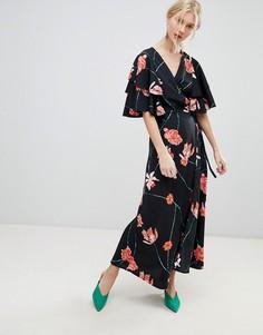 Платье макси с запахом и принтом Vero Moda - Мульти