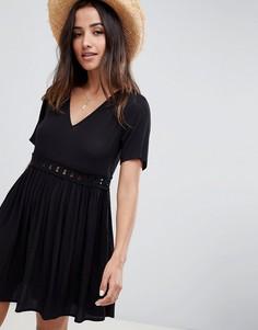 Свободное платье мини с кружевной вставкой ASOS DESIGN - Черный