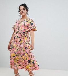 Чайное платье с цветочным принтом и запахом эксклюзивно для ASOS CURVE - Мульти