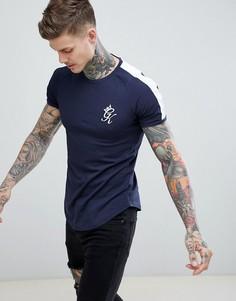 Темно-синяя футболка в полоску в стиле ретро Gym King - Темно-синий