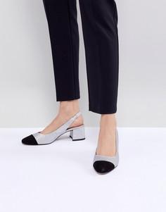 Туфли на среднем каблуке ASOS DESIGN Sanders - Серебряный