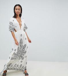 Пляжное платье-кимоно макси с принтом и глубоким вырезом ASOS DESIGN Tall - Мульти