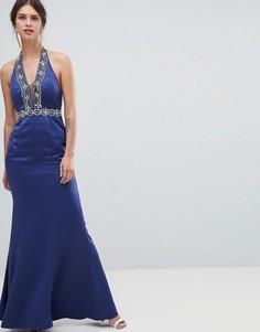Декорированное платье макси с глубоким вырезом Minuet - Темно-синий