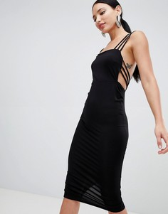 ASOS DESIGN cage back midi dress - Черный