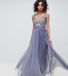 Темно-синее платье макси с отделкой на лифе Needle & Thread - Темно-синий