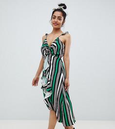 Платье миди в полоску с оборками River Island Petite - Мульти