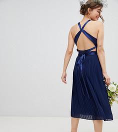 Плиссированное платье миди с перекрестной отделкой на спине TFNC Petite - Темно-синий