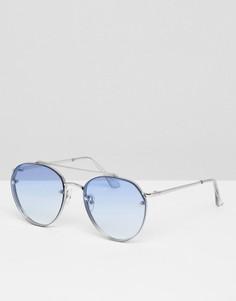 Круглые солнцезащитные очки с синими стеклами омбре 7x - Серебряный