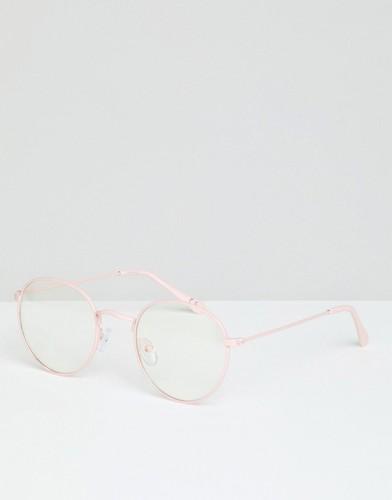 Очки в круглой розовой оправе с прозрачными стеклами ASOS DESIGN - Розовый