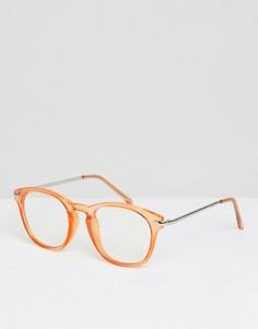 Круглые очки с прозрачными стеклами ASOS DESIGN - Оранжевый