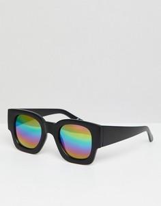 Черные квадратные солнцезащитные очки с зеркальными стеклами ASOS DESIGN - Черный