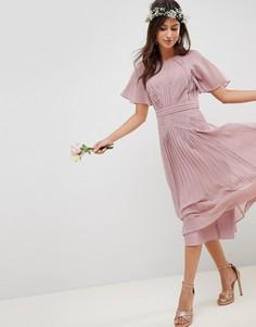 Плиссированное платье миди с кружевными вставками ASOS DESIGN - Розовый