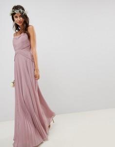 Плиссированное платье макси с кружевными вставками ASOS DESIGN - Розовый