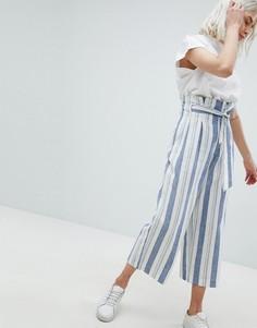 Широкие льняные брюки с присборенным поясом Pull&Bear - Мульти Pull&Bear