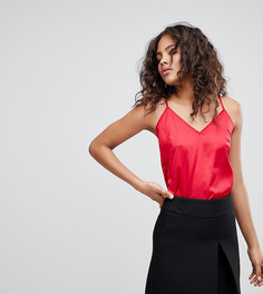 Атласный топ на бретельках Fashion Union Tall - Красный