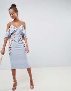 Платье-футляр миди с открытыми плечами и вышивкой ASOS DESIGN - Синий