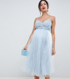 Премиум-платье миди с кружевным топом на бретельках и юбкой из тюля ASOS DESIGN Maternity - Синий