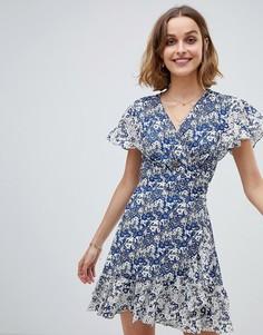 Платье с запахом и цветочным принтом BA&SH - Синий Ba&Sh