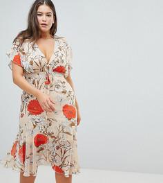 Платье макси с принтом роз и завязкой Praslin - Мульти