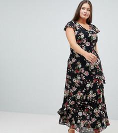 Платье макси с цветочным принтом и оборкой Praslin - Мульти