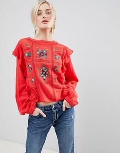 Свободная блузка с вышивкой Free People The Amy - Красный