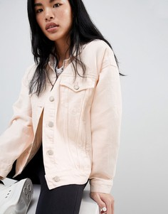 Розовая джинсовая oversize-куртка с карманами Pull&Bear - Розовый Pull&Bear