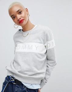 Свитшот в полоску с логотипом Tommy Jeans - Серый