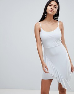 Платье мини с асимметричной оборкой Rare - Серый