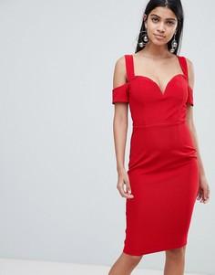 Платье с открытыми плечами и рукавами Rare - Красный