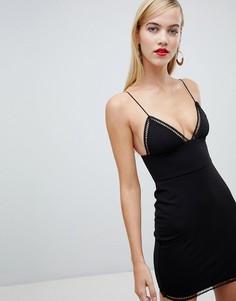Платье мини с V-образным вырезом Rare - Черный