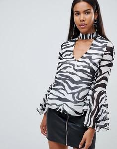 Блузка с чокером и зебровым принтом Rare - Черный