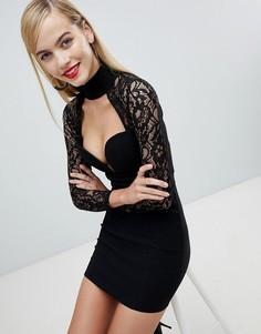 Платье мини с отделкой кроше Rare - Черный